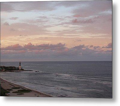 Lighthouse Peach Sunset Metal Print