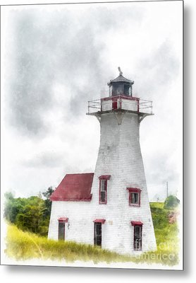 Lighthouse Prince Edward Island Watercolor Metal Print by Edward Fielding