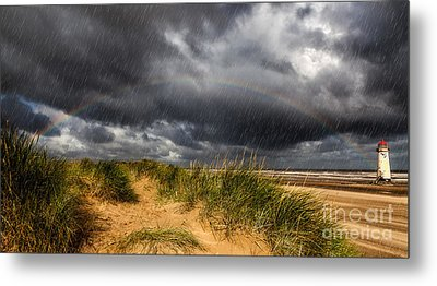 Lighthouse Rainbow Metal Print by Adrian Evans