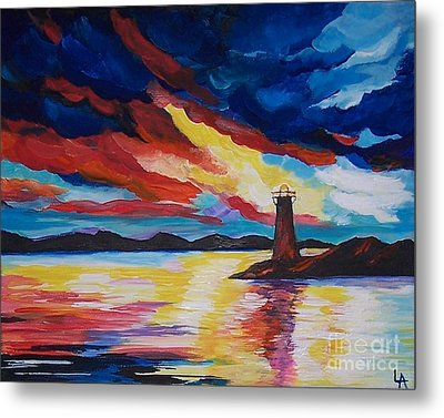 Metal Print featuring the painting Lighthouse Storm by Leslie Allen