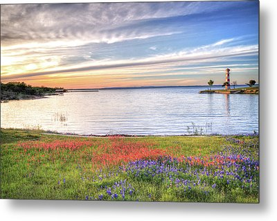 Lighthouse Sunset At Lake Buchanan Metal Print