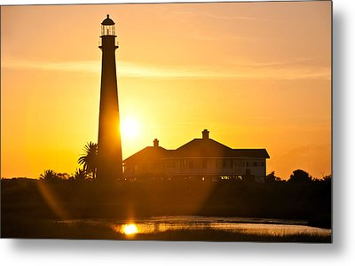 Lighthouse Sunset Metal Print by John Collins