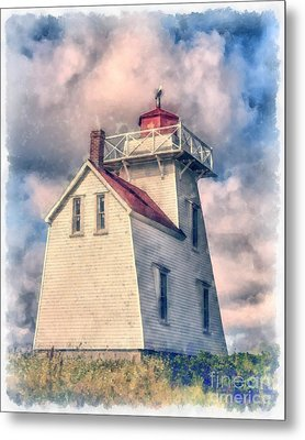 Lighthouse Watercolor Metal Print