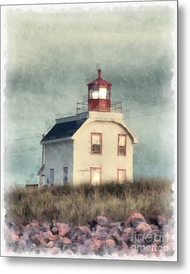 Lighthouse Watercolor Prince Edward Island Metal Print by Edward Fielding