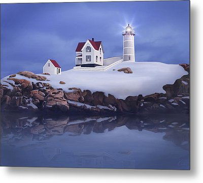 Lighting Of The Nubble Lighthouse Metal Print by James Charles