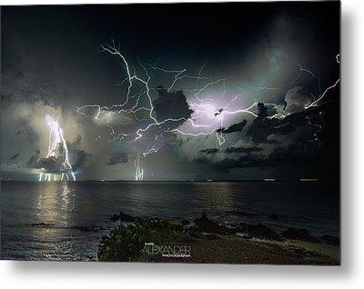 Lightning At The Bermuda Triangle Metal Print by Karl Alexander