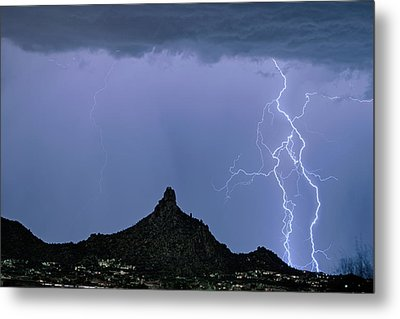 Metal Print featuring the photograph Lightning Bolts And Pinnacle Peak North Scottsdale Arizona by James BO Insogna