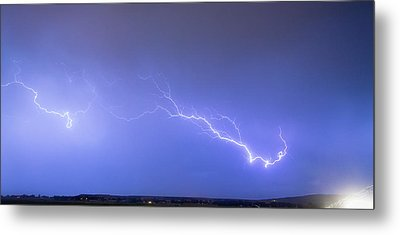 Lightning Bolts Coming In For A Landing Panorama Metal Print by James BO  Insogna