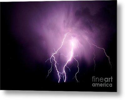 Lightning In The Desert Metal Print