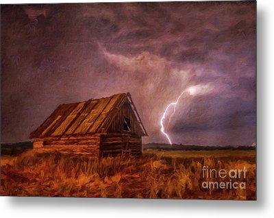 Lightning Landscape By Sarah Kirk Metal Print
