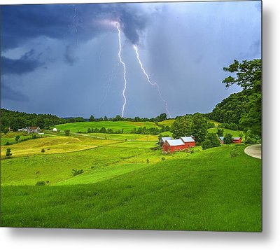 Lightning Storm Over Jenne Farm Metal Print