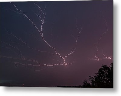 Lightning Over Lake Lanier Metal Print by Michael Sussman