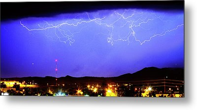Lightning Over Loveland Colorado Foothills Panorama Metal Print by James BO  Insogna