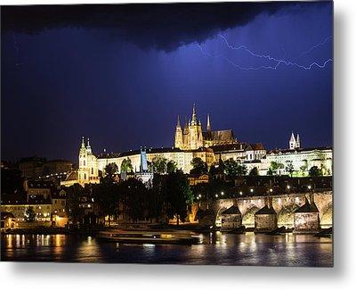 Metal Print featuring the photograph Lightning Over Prague Castle by Alex Lapidus