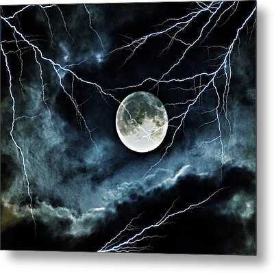 Lightning Sky At Full Moon Metal Print by Marianna Mills