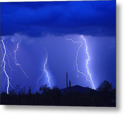 Lightning Storm In The Desert Fine Art Photography Print Metal Print by James BO  Insogna