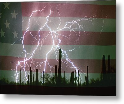 Lightning Storm In The Usa Desert Flag Background Metal Print by James BO  Insogna