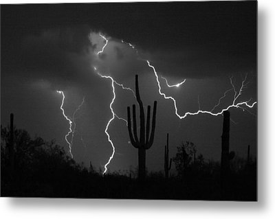 Lightning Storm Saguaro Fine Art Bw Photography Metal Print
