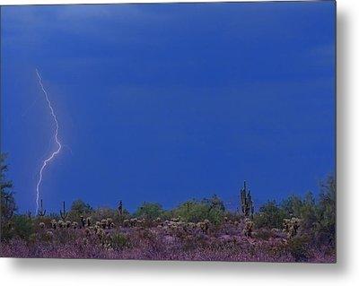 Lightning Strike In The Desert Metal Print by James BO  Insogna