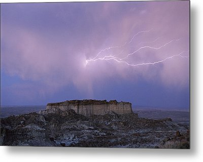 Lightning Strikes Above A Butte Metal Print by Joel Sartore