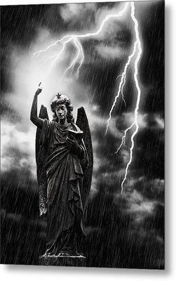 Lightning Strikes The Angel Gabriel Metal Print by Amanda Elwell