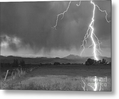 Lightning Striking Longs Peak Foothills 5bw Metal Print
