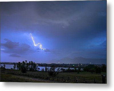 Metal Print featuring the photograph Lightning Striking Over Boulder Reservoir by James BO Insogna