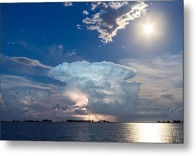 Lightning Thunderstorm Cell And Moon Metal Print by James BO  Insogna