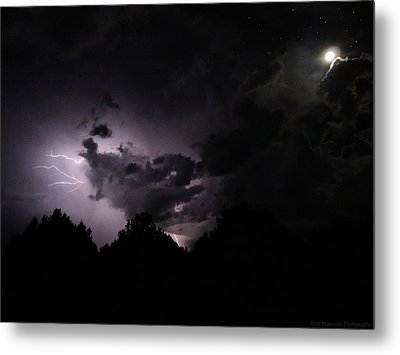 Lightning With Stars And Moon  Metal Print by Todd Krasovetz