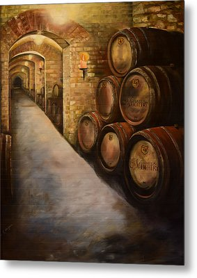 Metal Print featuring the painting Lights In The Wine Cellar - Chateau Meichtry Vineyard by Jan Dappen