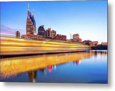 Lights On The Cumberland River - Nashville Tennessee Skyline  Metal Print