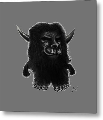 Lil Fuzzy Monster Black Ver. Metal Print by Winston Wesley Art