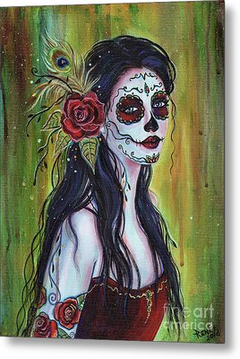 Lila Day Of The Dead Art Metal Print by Renee Lavoie