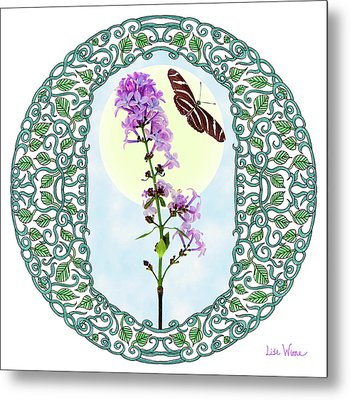 Lilac With Butterfly Metal Print by Lise Winne