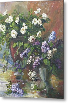Metal Print featuring the painting Lilacs And Asters by Tigran Ghulyan