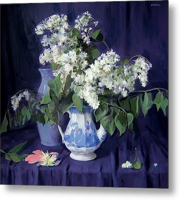 Lilacs And Blue Metal Print