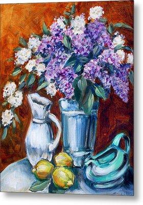 Lilacs And Lemons Metal Print by Sheila Tajima