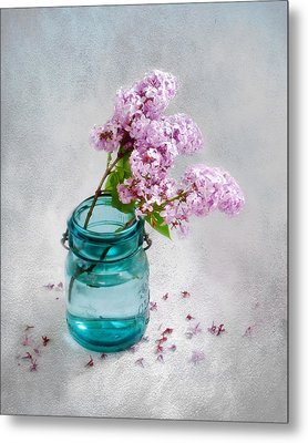 Metal Print featuring the photograph Lilacs In A Glass Jar Still Life by Louise Kumpf