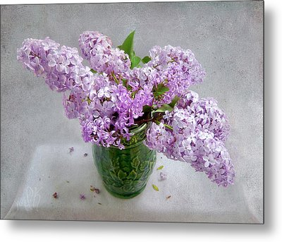 Lilacs In A Green Tankard Still Life Metal Print