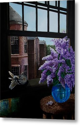 Lilacs In Blue Vase Metal Print by Kathleen Romana