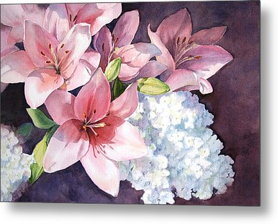Lilies And Hydrangeas - II Metal Print