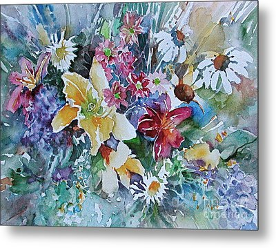 Lilies Daisies Flowers Bouquet Metal Print by Reveille Kennedy