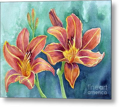 Metal Print featuring the painting Lilies by Eleonora Perlic