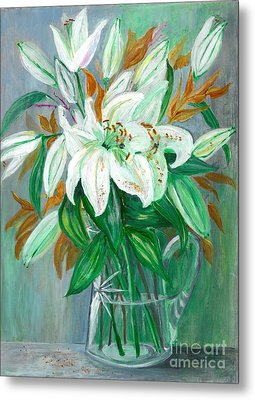 Lilies In A Glass Vase - Painting Metal Print