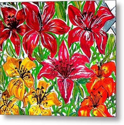 Lilies Metal Print by Nancy Rucker