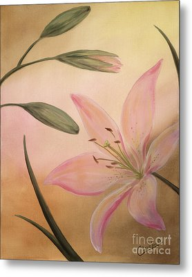 Metal Print featuring the painting Lilies Part 2 by Cathy Cleveland