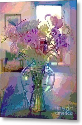 Lily Flowers In Glass Metal Print by David Lloyd Glover