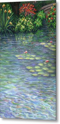 Lily Pads Triptych Part Three Metal Print by Linda Mears