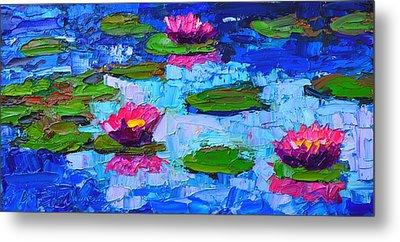 Lily Pond Impression - Pink Waterlilies  Metal Print by Ana Maria Edulescu