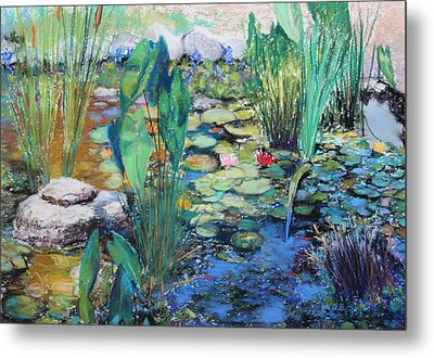 Metal Print featuring the painting Lily Pond by M Diane Bonaparte